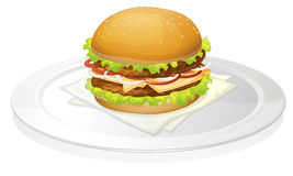 Burger. Illustration of a burger on a white background Royalty Free Stock Image
