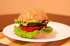 Burger. Bright and colorful photography of tasty and appetizing burger on a plate on table Royalty Free Stock Photo