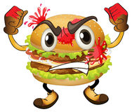 A burger. Illustration of a burger on a white background Royalty Free Stock Photo