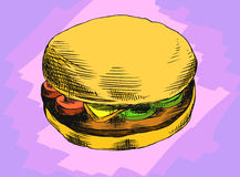 Burger. Hand drawing a burger on an abstract background Stock Photo