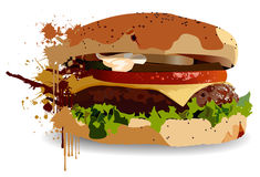 Burger. A vector burger in a splashy style Stock Photography