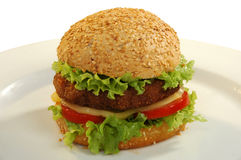 Burger. With beef, cheese, tomato and lettuce Stock Photography