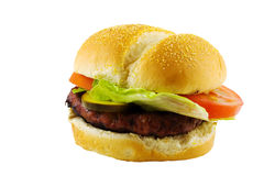 Beefburger with lettuce and tomato Royalty Free Stock Photography