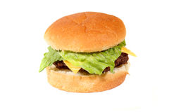 Burger. With lettuce and cheese isolated on white Stock Image