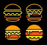 Burger abstract outline vector logo set template, fast food isolated neon line art stylized icon collection, unusual. Illustration on black background vector illustration