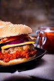 Burger with ajvar Stock Image