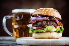 Free Burger And Beer Mug Stock Photo - 157676950