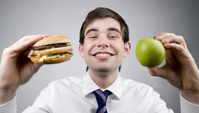 Burger or apple Stock Photography