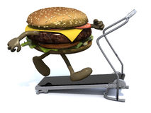 Burger with arms and legs on a running machine. 3d illustration Royalty Free Stock Photos