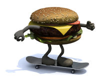 Burger with arms and legs on skateboard Stock Photography