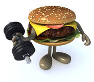 Burger with arms and legs weight training. Burger with arms and legs doing weight training, 3d illustration Stock Photos