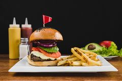 Burger with avocado, tomato, onion, cheese and french fries royalty free stock images