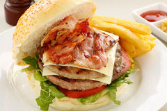 Burger With Bacon Royalty Free Stock Photos
