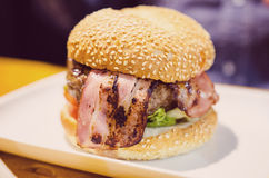 Burger with bacon Royalty Free Stock Image