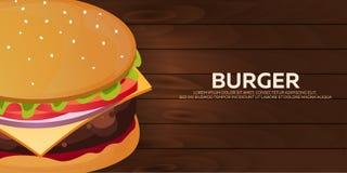 Burger banner. Fast food restaurant. Vector illustration. Royalty Free Stock Photos