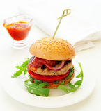 burger with barbecue sauce. Royalty Free Stock Photo