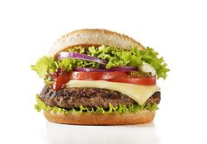 Burger with beef and cheese on white background stock photography