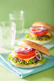 Burger with beef patty cheese lettuce onion tomato Stock Photo