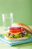 Burger with beef patty cheese lettuce onion tomato Royalty Free Stock Image