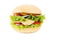 Burger with beef and vegetables on white background Royalty Free Stock Images