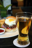 Burger and beer Stock Photos
