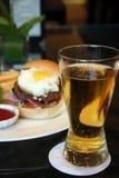 Burger and beer Stock Photos