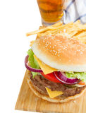 Burger with beer Stock Image