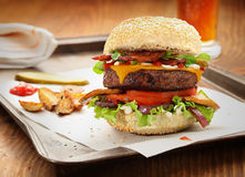 Burger and beer Royalty Free Stock Photography