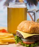 Burger Beer Meal Represents Ready To Eat And Bbq royalty free stock photo