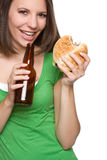 Burger Beer Woman Stock Photography
