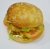 Burger - Big juicy burger on white background - Rounders Royalty Free Stock Photos