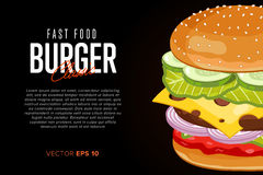 Burger on black background with abstract text Royalty Free Stock Photo