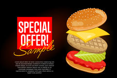 Burger on black background with abstract text Royalty Free Stock Photos