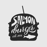 Burger black. Fast food illustration and hand draw lettering in vector. Colorful, volume, and modern picture of burger concept with different taste Royalty Free Stock Images