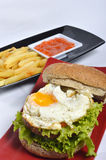 Burger with black pepper and French fries Royalty Free Stock Photography
