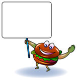 Burger with blank sign board. Cartoon image Royalty Free Stock Photos