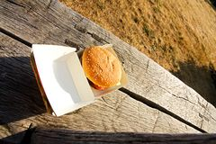 Burger in a box Royalty Free Stock Photography