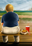 Burger Boy. Illustration of a fat boy in a baseball uniform sitting on a bench eating a burger Stock Image