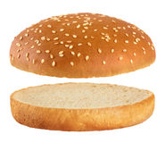 Burger bread isolated on white background. Stock Photos