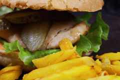 Burger with breast cutlet closeup Stock Image