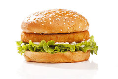 Burger in a bun. Appetizing beef or chicken burger in a seeded bun with lettuce and mayonnaise (or soft cheese), white background stock photography
