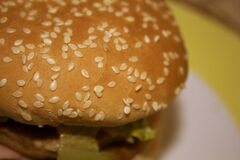 Burger bun with sesame seeds.