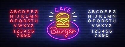 Burger cafe neon sign. Fastfood burger sandwich neon logo, bright banner, design template, night neon advertising for. Dining restaurant, street food. Vector royalty free illustration