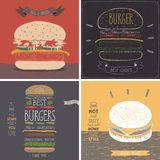 Burger cards - Hand drawn style. Royalty Free Stock Photos