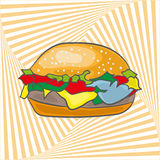 Burger Cartoon. Burger cartoon on background with optical illusion Vector Illustration