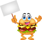 Burger cartoon characters with blank sign Royalty Free Stock Image