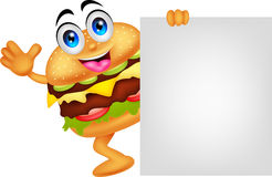 Burger cartoon characters with blank sign Stock Photography