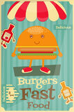 Burger. Cartoon - Funny Cover Menu with Ham, Ketchup and Mustard. Vector Illustration Stock Photo