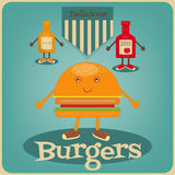 Burger. Cartoon - Funny Gam, Ketchup and Mustard. Vector Illustration Royalty Free Stock Photography