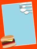 Burger and catlery. Burger and cutlery on abstract background Royalty Free Stock Photography
